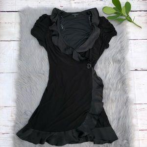 Marina Black Ruched-Sleeve Satin Ruffle Wrap Dress